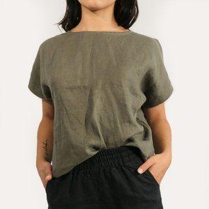 Two Fold Krissy Tee, Size small, Moss Linen